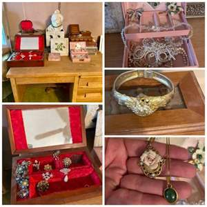 Lot # 220-Vintage Jewelry Boxes and Jewelry