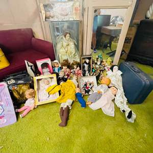 Lot # 225-Vintage doll collectibles. Including large Queen Elizabeth Doll, Elvis dolls, and a Cabbage Patch Doll
