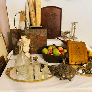 Lot # 227-Antique and Vintage Treasures Including an Antique English Pewter Tea Pot and Collectible Perfume Bottles