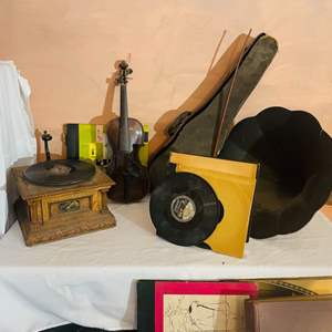 Lot # 228-Antique Record Player with Phonograph, and a Vintage Violin
