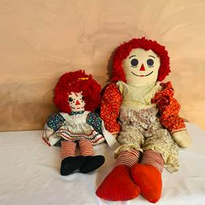 Lot # 230- Two vintage Raggedy Ann's, One Extra Large