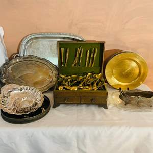 Lot # 232-Vintage Gold Plated Flatware, Chargers, and  Stainless Steel Platters