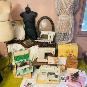 Lot # 235- Sewing Dream! Vintage Sewing Machines, Sewing Bodices, Vintage Wedding Dress