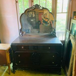 Lot # 236- Antique Dresser with Antique- Intricate Wood Twin Bed Frame