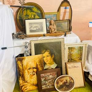 Lot # 238- Original Oil Painting, Vintage and Antique Pictures, Gorgeous Frames, Tripod and More