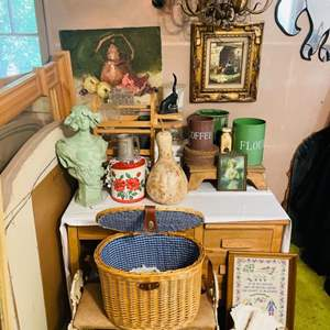 Lot # 239- Vintage Kitchen Items Including a Gorgeous Oil Painting, Vintage Coffee and Flower Tins, Several Art Pictures