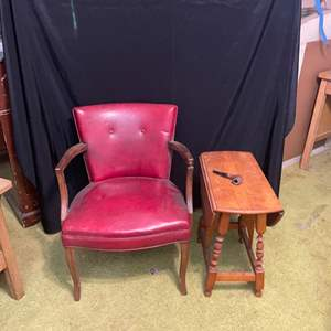 Lot # 243- Vintage Chair, Antique End Table and Pipe