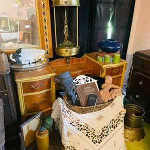 Lot # 244- Antique Vanity Desk/Dresser with Extras!