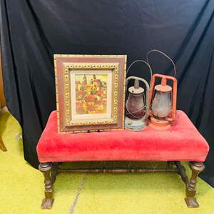 Lot # 246-Antique Velvet Bench with Vintage Lanterns and a Cute Oil Painting