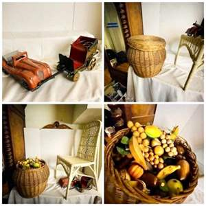 Lot # 253-Vintage metal Cars, Large Basket Full of Wooden Fruit, Two Wicker Chairs