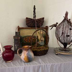 Lot # 3- Old World Decor- Lantern, Pottery Pitcher & More