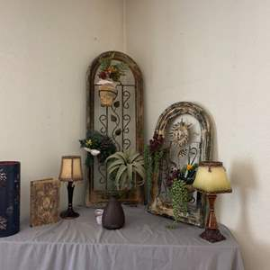 Lot # 5- Rustic Decor- Candle Holders, Metal Wall Hangings & More