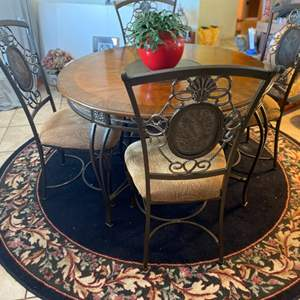 Lot # 8- Beautiful Wood and Metal 4-Foot Round Dining Table
