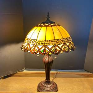 Lot # 11- Stained Glass Lamp- Tiffany Reproduction