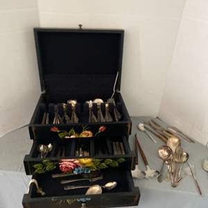 Lot # 12- Sterling Plated Flatware + Beautiful Case
