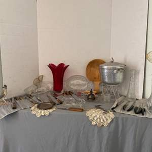 Lot # 14- Miscellaneous Kitchen Treasures- Vintage Ice Bucket, Stainless Steel Knives & More