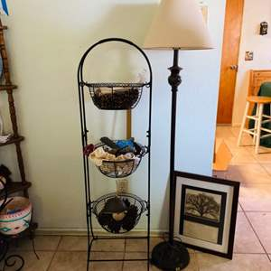 Lot # 19- Wire Basket, Lamp + Picture