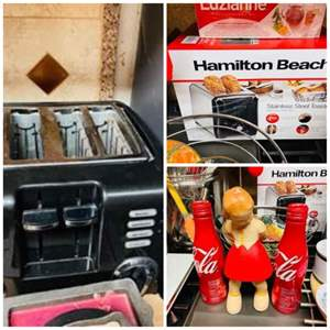 Lot # 33- Coca-Cola Collectable, Stainless Steel Toaster, Appliances + More