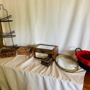 Lot # 67- Vintage Jewelry Boxes, Side Table + More