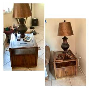 Lot # 86- Two Rustic End Tables + Lamp