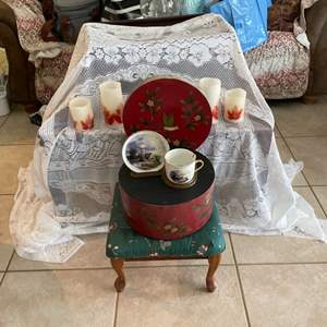 Lot # 95- Vintage Treasures- Candles, lace tablecloth, stool & more