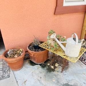 Lot # 101- Metal Table, Vintage Watering Can, and Outdoor Pots