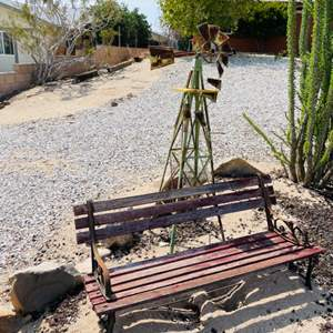 Lot # 107- Small Decorative Wood Bench, Terra-Cotta Pot and Vintage Windmill