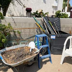 Lot # 111- Wheel Barrel, Metal Wagon, Step ladder, Yard Tools and more!