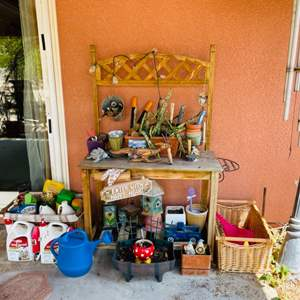 Lot # 115- Cute Garden Items Including Large Lantern, Chimes, Garden Bench With  Accessories
