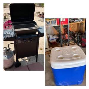 Lot # 116- Aussie BBQ Grill  Plus Grill Tools and Igloo Cooler