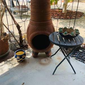 Lot # 119- Terra-cotta Fire Pit, Birdhouse, and More!