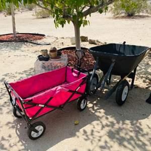 Lot # 121- Wheel Barrel, Pink Wagon, Step Ladder and 2 Folding Sawhorses
