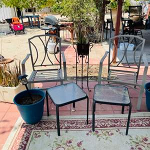 Lot # 122- Metal Chairs With Glass Top Side Tables and More!