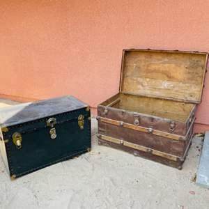 Lot # 126- Vintage Trunk and Vintage Steamer Chest