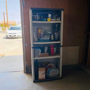 Lot # 150- Garage Shelving with Contents- Soda Stream, Popcorn Popper, Plastic Goods & More