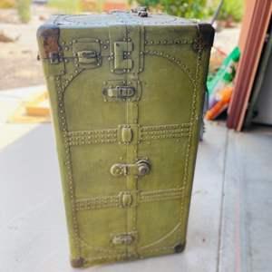 Lot # 152- Large, Vintage Army Green Trunk/ Dresser