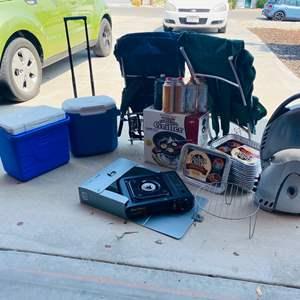 Lot # 153-Huge Camping Lot: Stove & Grill, Coleman Coolers, Table Top Griller, Fuel, Aluminum Back Backs