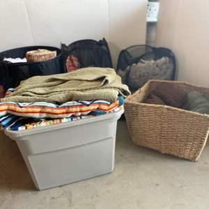 Lot # 154- Blankets & Linens Galore: Mohawk Runner Rug, Bath Rug, Sheets, Hampers, Wicker Basket & More
