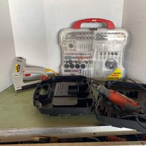 Lot # 158- Black and Decker Rotary Tool and Accessories with Cases & Stanley Sharp Shooter