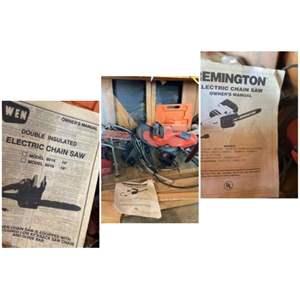 Lot # 159-Black & Decker Trimmer, Chainsaw, Jack & contents of bottom shelf