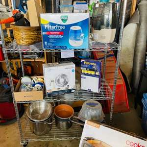 Lot # 172- 6 Filters for your House, Cooks smokeless Grill, Steamer, Humidifier, Table Fan, Pots/Pans