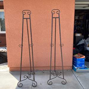 Lot # 179-  Set of 2 Large Display Easels -About 5 Ft. Tall