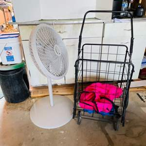 Lot # 180- Extendable Floor Fan and Rolling Storage Cart