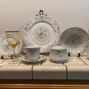 Lot # 37-Beautiful China with Gold Rimmed Glassware