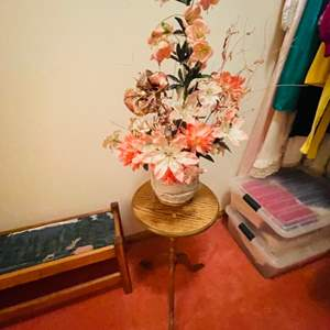 Lot # 91-Vintage Accent Tables with Shoe Rack and Artificial Floral Arrangement